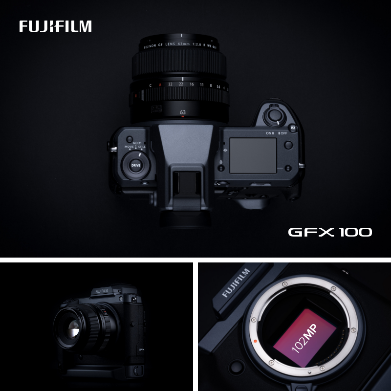 The Fujifilm GFX 100 is shown in multiple angles and will be available at pictureline