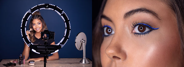 Makeup tutorial and close up on ring light catch light