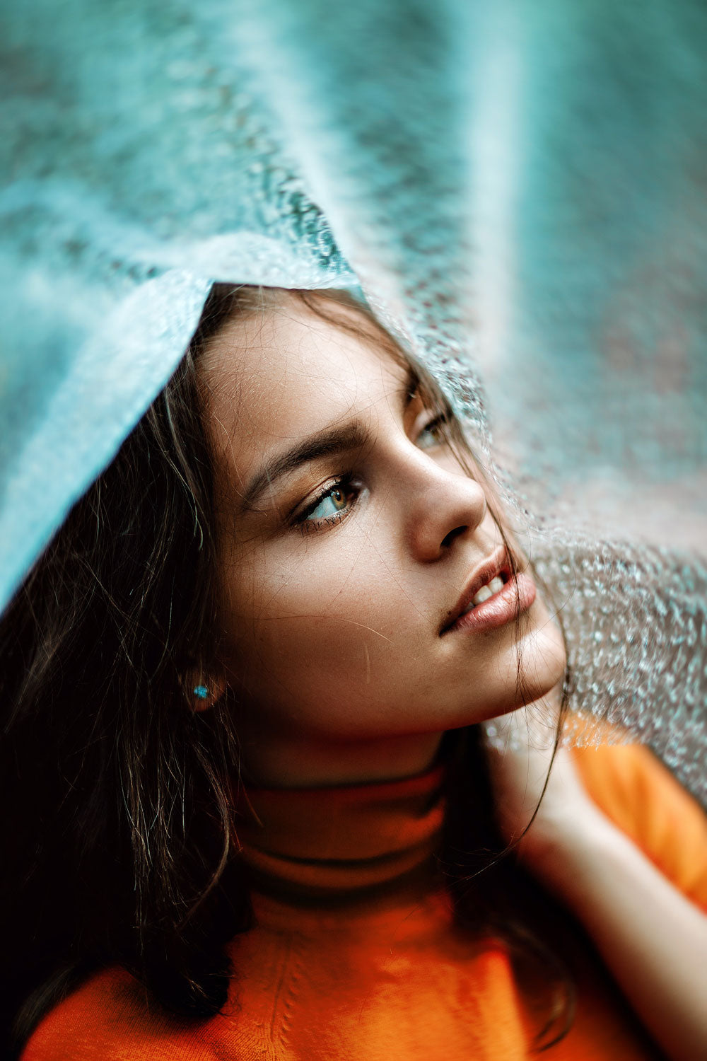 Portrait of dark haired model in complementary colors