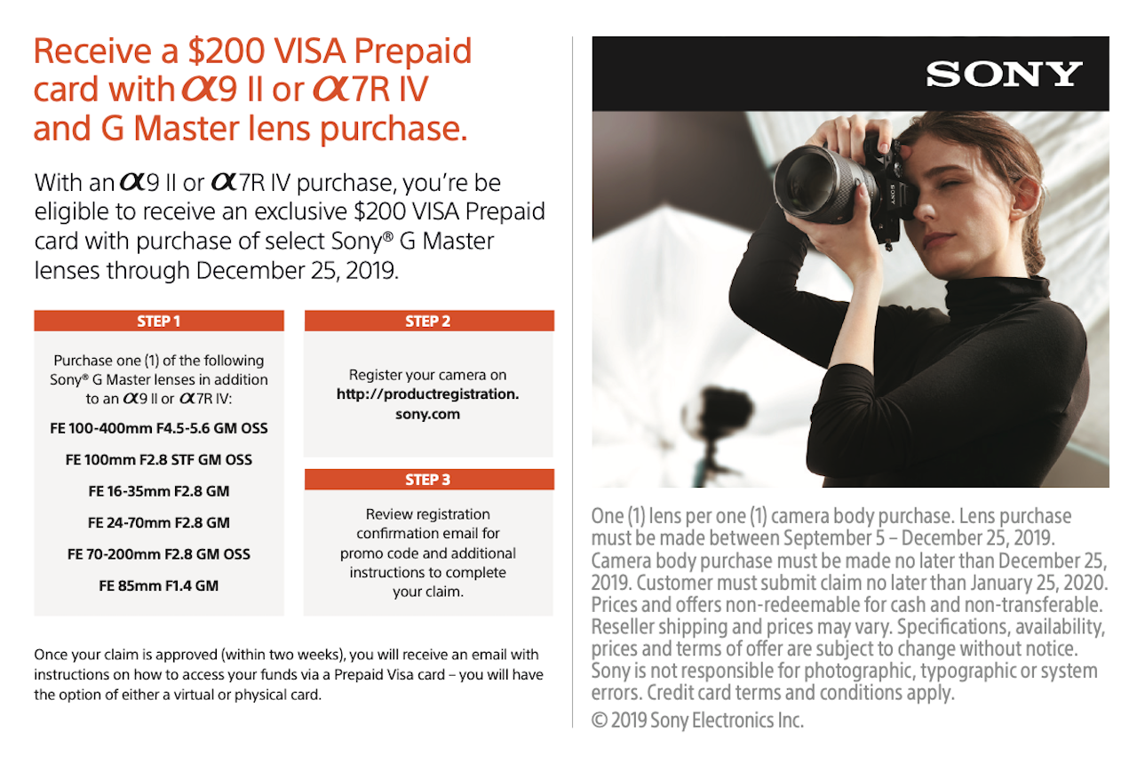Sony $200 Prepaid Visa with Lens Purchase