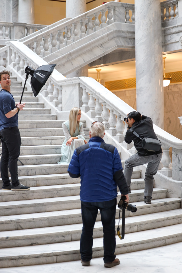 Taking portraits of model inside Utah state capitol