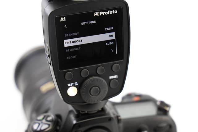 using the profoto a1 and settings high-speed sync