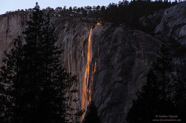 Last light on Horsetail Waterfall, Yosemite National Park, California - Telephoto Landscapes by Vaibhav Tripathi