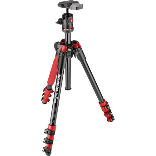 Manfrotto MKBFRA4R-BH Befree Compact Travel Tripod Red, tripods photo tripods, Manfrotto - Pictureline  - 1