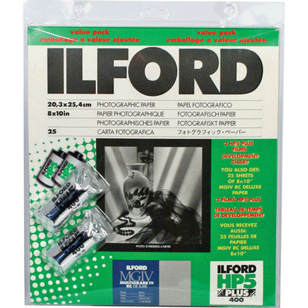 Ilford MG IV RC Pearl B&W Paper with 2 Rolls HP5 Film Value Pack, camera film darkroom, Ilford - Pictureline
