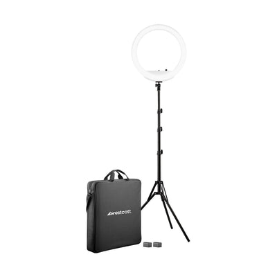 "Westcott 18"" Bi-Color LED Ring Light Kit with Batteries and Stand"