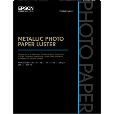 "Epson Metallic Photo Paper Luster 8.5x11"" (25), papers sheet paper, Epson - Pictureline"