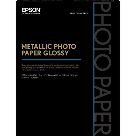 "Epson Metallic Photo Paper Glossy 8.5x11"" (25), papers sheet paper, Epson - Pictureline"
