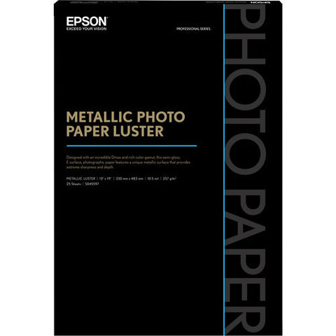 "Epson Metallic Photo Paper Luster 13x19"" (25), papers sheet paper, Epson - Pictureline"