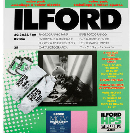 Ilford MG IV RC Glossy B&W Paper with 2 Rolls HP5 Film Value Pack, camera film darkroom, Ilford - Pictureline