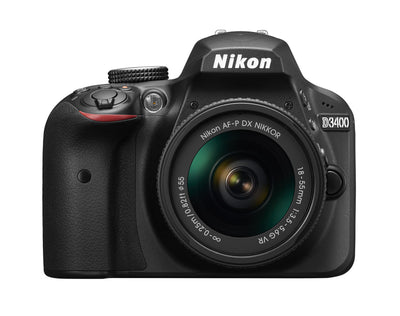 Nikon D3400 DX-format Digital SLR Kit w/ 18-55mm DX G VR Zoom Lens Black, camera dslr cameras, Nikon - Pictureline  - 1