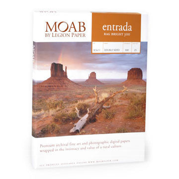 Moab Entrada Rag 190 Bright 5x7 - 25 Scored Cards, papers sheet paper, Moab Paper Company - Pictureline
