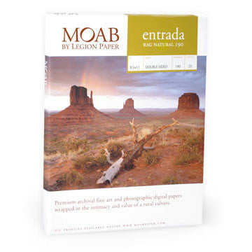 Moab Entrada Rag 190 Natural 5x7 - 25 Scored Cards, papers sheet paper, Moab Paper Company - Pictureline