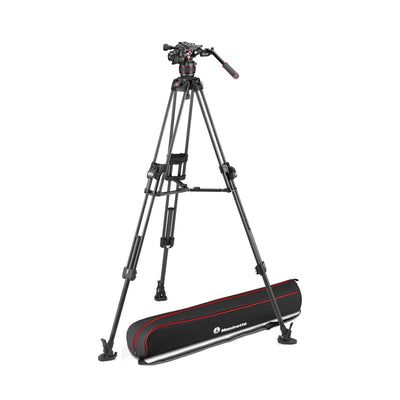 Manfrotto MVK608TWINFCUS Kit with Nitrotech 608 Fluid Head and 645 Fast Twin Leg Carbon Fiber Tripod & Bag