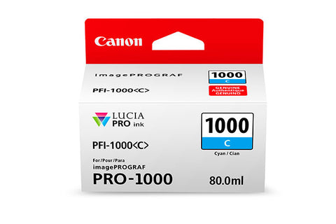 Canon PFI-1000 LUCIA PRO Cyan Ink 80ml (PRO-1000), papers ink large format, Canon - Pictureline