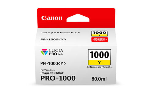 Canon PFI-1000 LUCIA PRO Yellow Ink 80ml (PRO-1000), papers ink large format, Canon - Pictureline