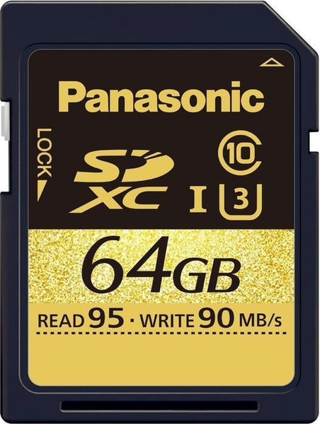 Panasonic Gold U3 64GB SDXC Class 10, discontinued, Panasonic - Pictureline