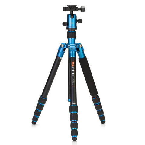 MeFOTO GlobeTrotter Aluminum Travel Tripod Kit (Blue), tripods travel & compact, MeFOTO - Pictureline  - 1