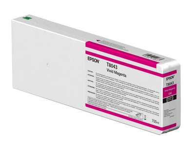 Epson T804300 P6000/P7000/P8000/P9000 Ultrachrome HD Ink 700ml Vivid Magenta, papers ink large format, Epson - Pictureline