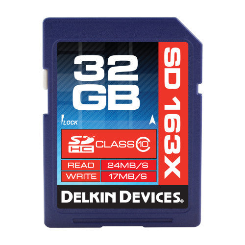 Delkin 32GB SDHC 163X Class 10 Memory Card, camera memory cards, Delkin - Pictureline