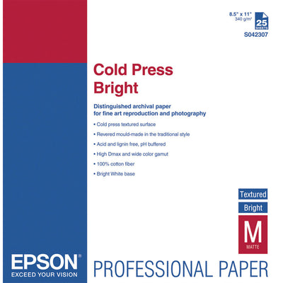 Epson Cold Press Bright Textured Paper 8.5x11 (25), papers sheet paper, Epson - Pictureline