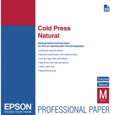 Epson Cold Press Natural Textured Paper 17x22 (25), papers sheet paper, Epson - Pictureline