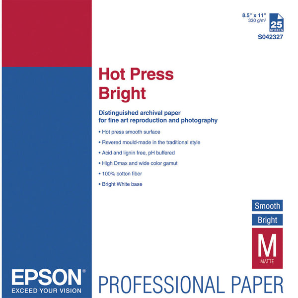 Epson Hot Press Bright Smooth Paper 8.5x11 (25), papers sheet paper, Epson - Pictureline