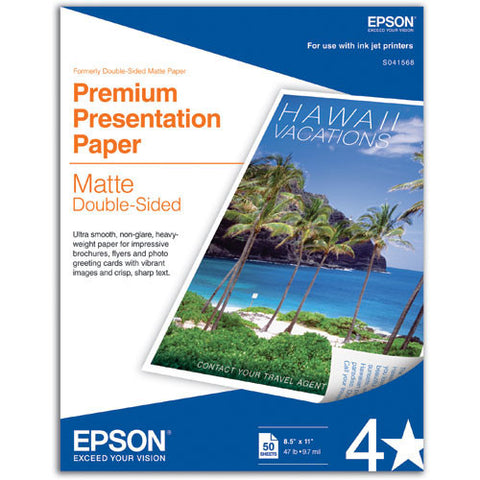 """Epson Premium Presentation Double Sided Matte Paper 8.5x11"""" (50) Epson Premium Presentation Double Sided Matte 8.5x11 Paper (50) is a premium presentation paper with an elegant matte finish. This paper has a nice weight to it with a bright white ultra-smooth finish that makes it perfect for projects that demand photographic image quality as well as two-sided printing. Epson Premium Presentation Double Sided Matte 8.5x11 Paper is perfect for flyers, brochures, newsletters, and any other project that needs an eye-catching print."""