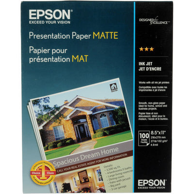 Epson Presentation Paper Matte 8.5x11 (100), papers sheet paper, Epson - Pictureline