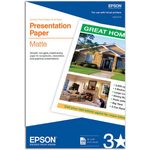 Epson Presentation Paper Matte 11x17  (100), papers sheet paper, Epson - Pictureline