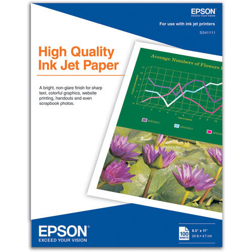 Epson High Quality Inkjet Paper 8.5x11 (100), papers sheet paper, Epson - Pictureline