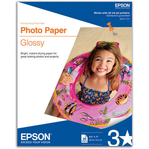 Epson Glossy Photo Paper 8.5x11 (20), papers sheet paper, Epson - Pictureline