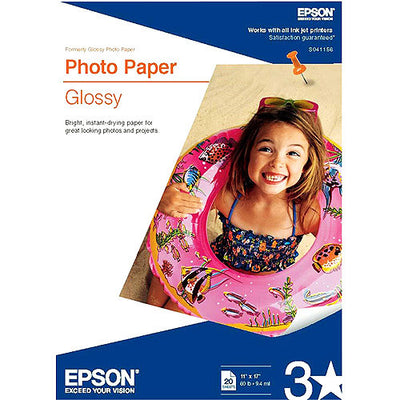 Epson Glossy Photo Paper 11x17 (20), papers sheet paper, Epson - Pictureline