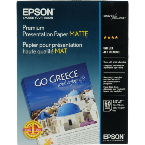"Epson Premium Presentation Matte Paper 8.5x11"" (50) Epson Premium Presentation Matte 8.5x11 Paper (50) is a heavyweight paper with a bright white, ultra-smooth finish perfect for printing long-lasting photographs with a matte finish. Epson Premium Presentation Paper Matte is ideal for non-glare photographs, craft projects, and signs. Heavyweight, ultra-smooth, bright white with a matte finish Perfect for B&W photos, enlargements and cherished photos Print favorite photos on a Non-Glare Finish Resists fading up to 72 years Guaranteed to work with ALL Ink Jet Printers"