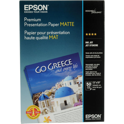 Epson Premium Presentation Matte 13x19  Paper (50) Epson Premium Presentation Matte 13x19 Paper (50) is a heavyweight paper with a bright white, ultra-smooth finish perfect for printing long-lasting photographs with a matte finish. Epson Premium Presentation Paper Matte is ideal for non-glare photographs, craft projects, and signs. Heavyweight, ultra-smooth, bright white with a matte finish Perfect for B&W photos, enlargements and cherished photos Print favorite photos on a Non-Glare Finish Resists fading up to 72 years Guaranteed to work with ALL Ink Jet Printers