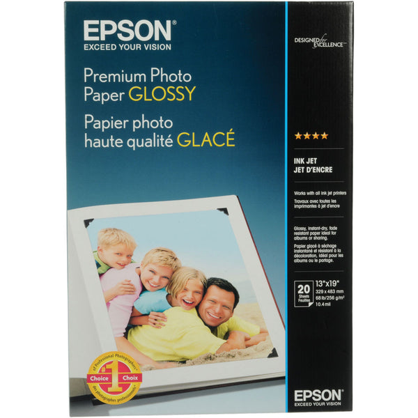 Epson Premium Photo Paper Glossy 13x19 (20), papers sheet paper, Epson - Pictureline