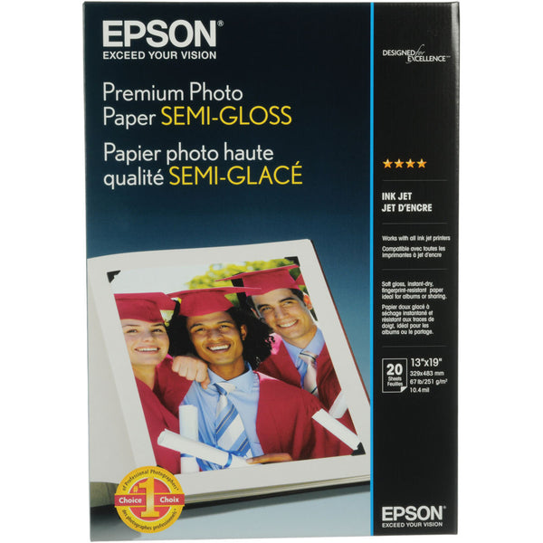 Epson Premium Semigloss Photo Paper 13x19 (20), papers sheet paper, Epson - Pictureline