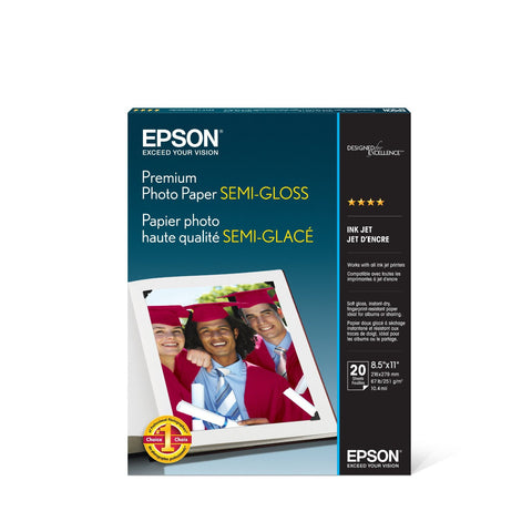 Epson Premium Semigloss Photo Paper 8.5x11 (20), papers sheet paper, Epson - Pictureline