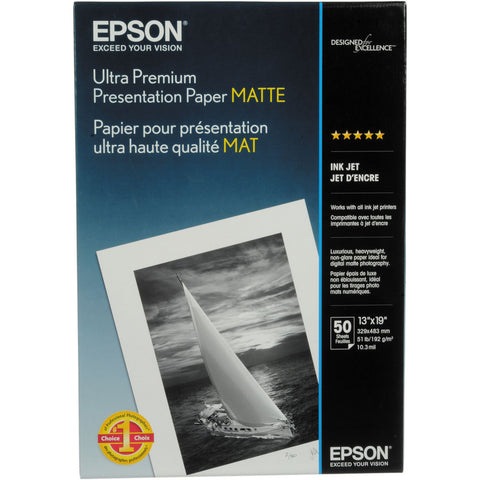 Epson Ultra Premium Presentation Matte Paper 13x19  (50) Epson Ultra Premium Presentation Matte Paper 13x19 (50) is a bright white paper perfect for images that do not need gloss. It offers highly saturated images with excellent highlight and shadow detail. Epson Ultra Premium Presentation Paper Matte is a versatile paper that can be used with UltraChrome™ Inks, EPSON Archival™ Inks, and DuraBrite™ Inks, or dye-based inks. Hobbyists, professional photographers and digital artists alike will find Epson Ultra Premium Presentation Paper Matte a remarkable solution for any project. Flat matte surface provides the optimum photographic platform Instant drying capability with EPSON Professional Inks allows for easy handling High color gamut yields remarkable color reproduction 1440 dpi printer compatibility ensures high resolution output Heavyweight stock delivers true photographic feel (for roll paper printing) Bright white base accentuates highlights