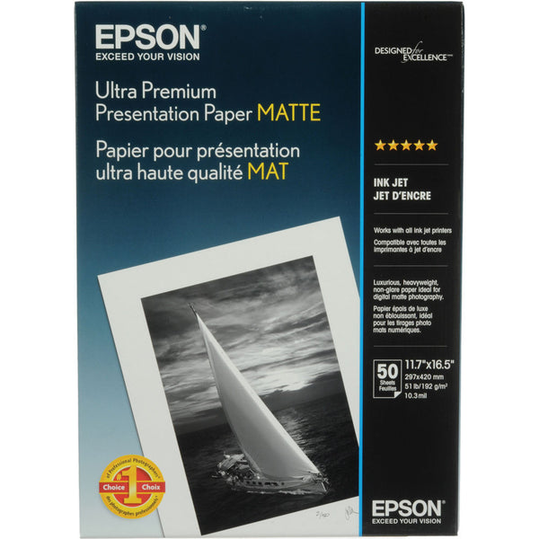 Epson Ultra Premium Presentation Matte Paper A3 11.7x16.5 (50), papers sheet paper, Epson - Pictureline