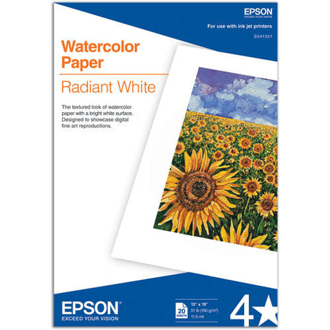 Epson Watercolor Paper Radiant White 13x19  (20) Epson Watercolor Paper Radiant White 13x19 (20) is a thick and heavyweight paper with a coated matte surface with the look and feel of fine art paper. Epson Watercolor Paper Radiant White is the ideal medium for presenting photographic reproductions and graphic designs on matte textured surfaces and offers a different look from resin-coated photo papers. View printer compatibility chart