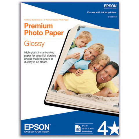Epson Premium Photo Paper Glossy 5x7 (20), papers sheet paper, Epson - Pictureline