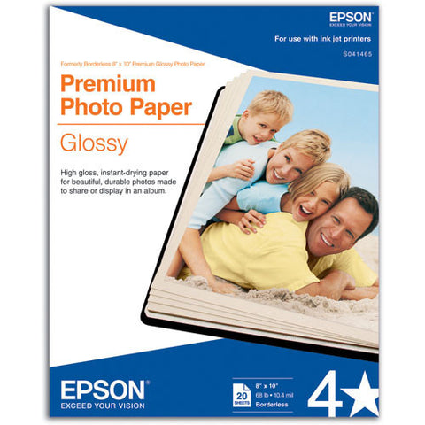 Epson Premium Photo Glossy Paper 8x10 (20), papers sheet paper, Epson - Pictureline