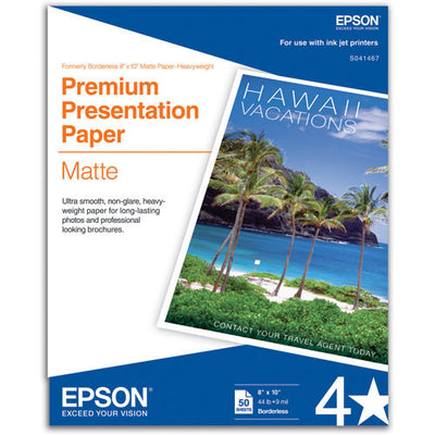 Epson Premium Presentation Matte 8x10 Borderless Paper (50), papers sheet paper, Epson - Pictureline