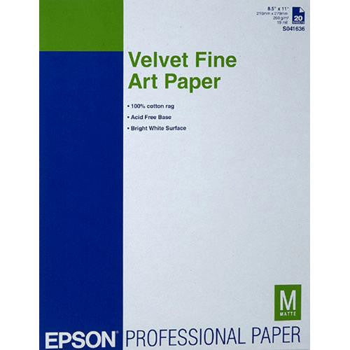 "Epson Velvet Fine Art Paper 8.5""x11"" (20), papers sheet paper, Epson - Pictureline"