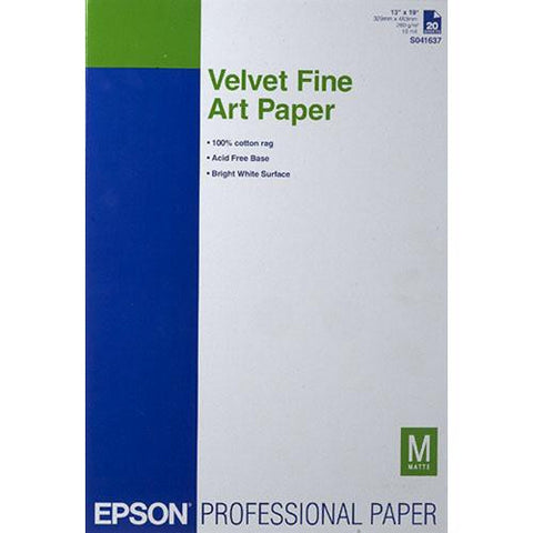 "Epson Velvet Fine Art Paper 13""x19"" (20), papers sheet paper, Epson - Pictureline"