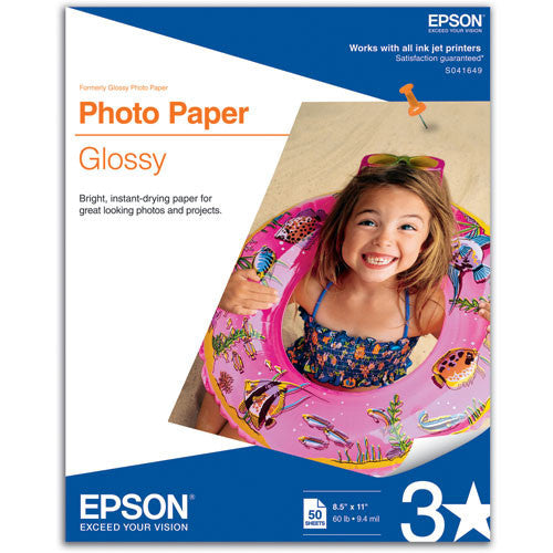 Epson Photo Paper Glossy 8.5x11 (50), papers sheet paper, Epson - Pictureline