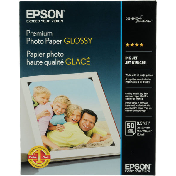Epson Premium Photo Glossy Paper 8.5x11 (50), papers sheet paper, Epson - Pictureline