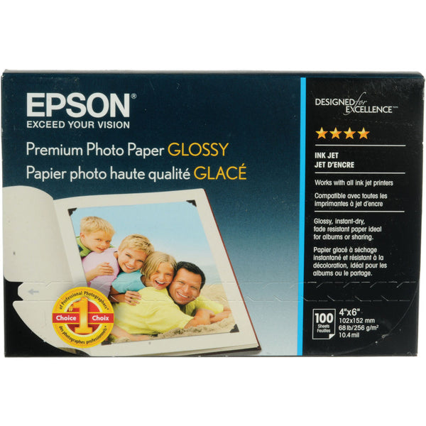 Epson Premium Photo Glossy Paper 4x6 (100), papers sheet paper, Epson - Pictureline
