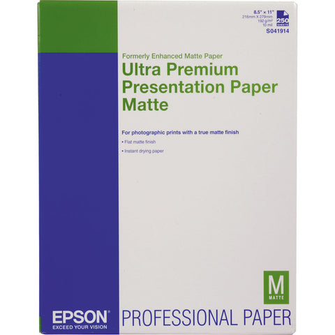 Epson Ultra Premium Presentation Paper Matte 8.5x11  (250) Epson Ultra Premium Presentation Paper Matte 8.5x11 Paper 250 is a bright white paper perfect for images that do not need gloss. It offers highly saturated images with excellent highlight and shadow detail. Epson Ultra Premium Presentation Paper Matte is a versatile paper that can be used with UltraChrome™ Inks, EPSON Archival™ Inks, and DuraBrite™ Inks, or dye-based inks. Hobbyists, professional photographers and digital artists alike will find Epson Ultra Premium Presentation Paper Matte a remarkable solution for any project. Flat matte surface provides the optimum photographic platform Instant drying capability with EPSON Professional Inks allows for easy handling High color gamut yields remarkable color reproduction 1440 dpi printer compatibility ensures high resolution output Heavyweight stock delivers true photographic feel (for roll paper printing) Bright white base accentuates highlights